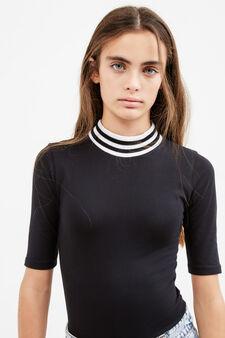 Teen bodysuit with lettering print, Black, hi-res