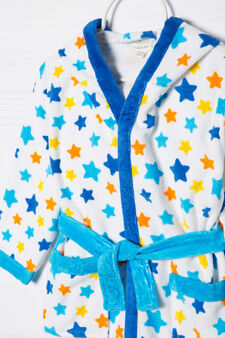 100% cotton patterned bathrobe, White/Blue, hi-res
