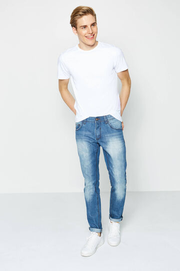 Worn-effect slim-fit jeans with whiskering, Light Wash, hi-res