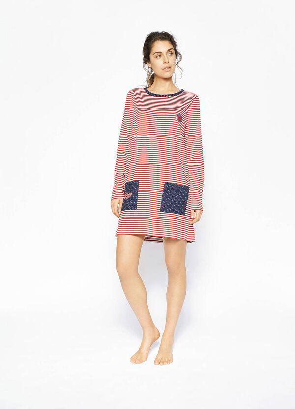 Camisón de algodón de rayas y lunares | OVS