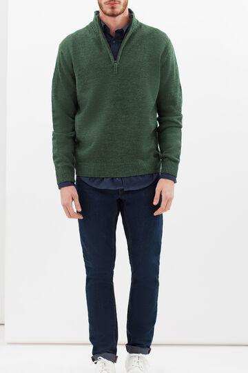 Camicia regular fit in cotone vaiella, Blu, hi-res