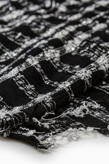 Cotton lurex and viscose blend pashmina, Black/White, hi-res