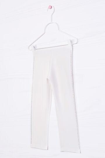 Stretch cotton leggings with diamanté motif, White, hi-res