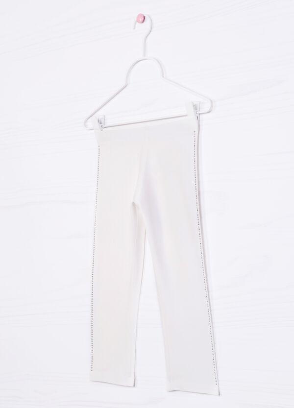 Stretch cotton leggings with diamanté motif | OVS