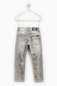 Ripped, straight-fit stretch jeans, Grey, hi-res