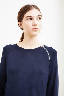 Stretch viscose dress with zip, Navy Blue, hi-res