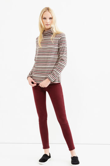 Fleece turtleneck jumper with striped pattern, Red, hi-res