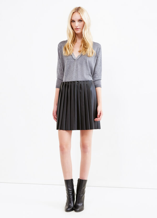 Stretch leather-look pleated skirt | OVS