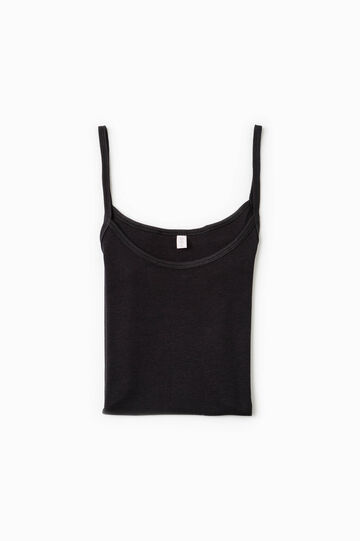 100% cotton undervest, Black, hi-res