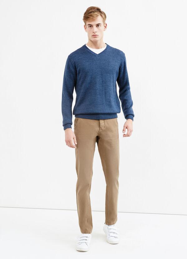 Pantalón en algodón elástico de color liso G&H | OVS