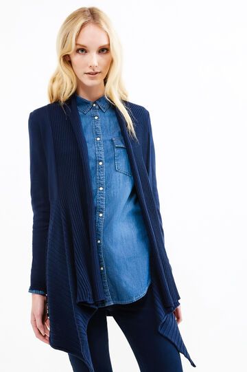 Long cardigan with shawl neck, Blue, hi-res