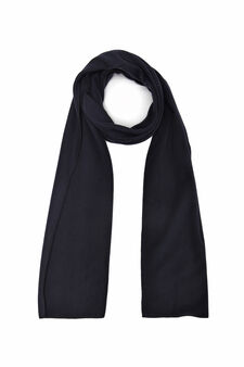 Solid colour fleece scarf, Navy Blue, hi-res