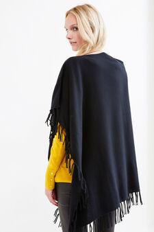 Solid colour poncho with fringe, Black, hi-res