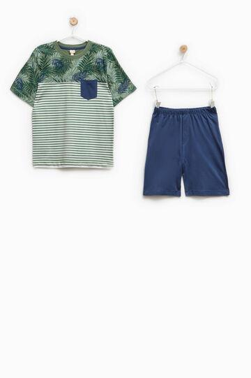 100% Biocotton pyjamas with flowers and stripes