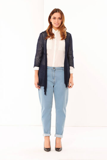 Long cardigan, Navy Blue, hi-res