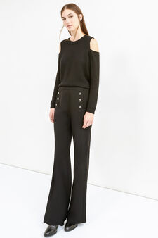 Pantaloni con bottoni e zip laterale, Nero, hi-res