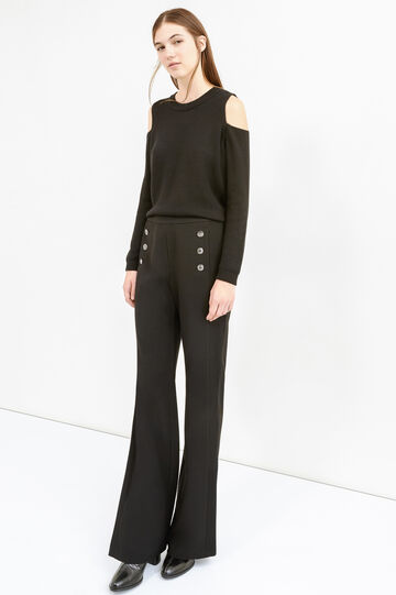 Trousers with buttons and side zip, Black, hi-res