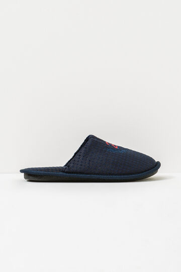 Patterned and embroidered slippers, Navy Blue, hi-res