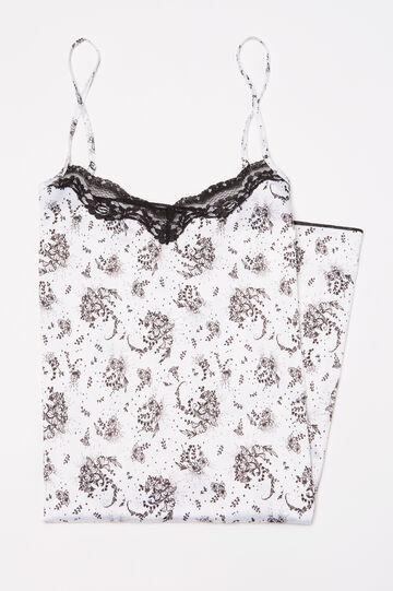 Printed stretch cotton nightshirt, Black/White, hi-res