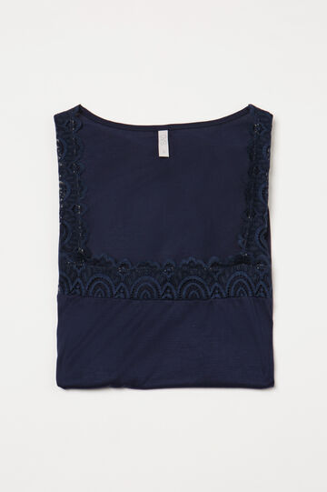 Pyjama top in 100% viscose and lace, Denim Blue, hi-res