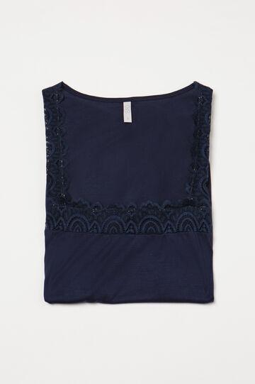 Maglia pigiama pura viscosa pizzo, Blu denim, hi-res