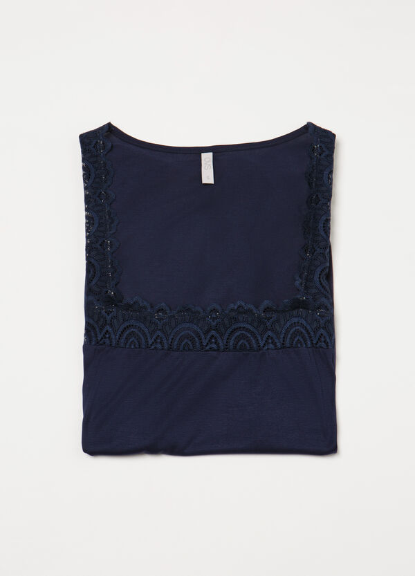 Pyjama top in 100% viscose and lace | OVS