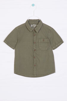 Camicia puro cotone tinta unita, Verde, hi-res