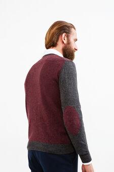 Cashmere blend Rumford pullover with pattern, Dark Grey Marl, hi-res