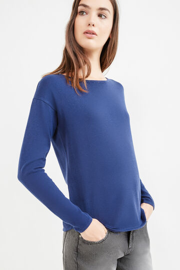 Round neck pullover in cotton., Blue, hi-res