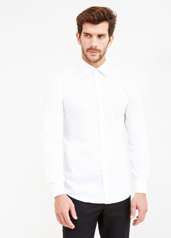 Solid colour slim fit formal shirt | OVS