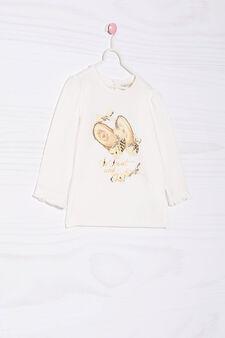T-shirt stretch con stampa e strass, Bianco latte, hi-res