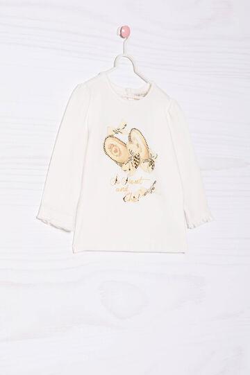 Stretch T-shirt with print and diamanté motif, Milky White, hi-res