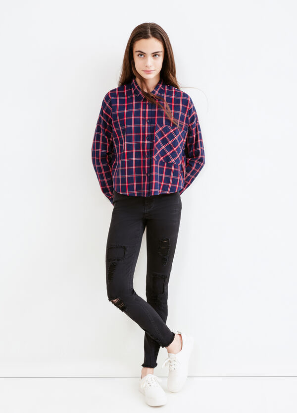 Teen check crop shirt | OVS