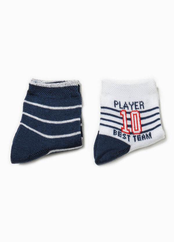 Two-pair pack striped and embroidered socks | OVS
