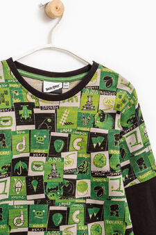 Cotton T-shirt with Angry Birds pattern, Black/Green, hi-res