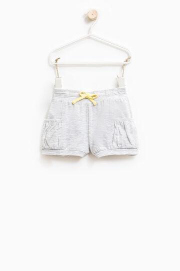 Shorts cotone stretch con coulisse, Grigio melange, hi-res