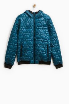 Down jacket with hood and ribbing, Teal Green, hi-res