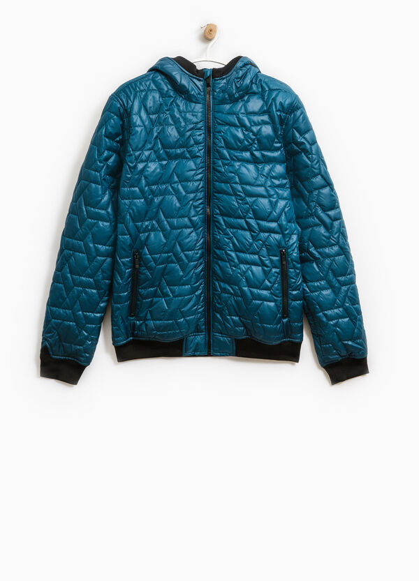 Down jacket with hood and ribbing | OVS