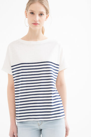 Striped T-shirt in 100% cotton, White/Blue, hi-res