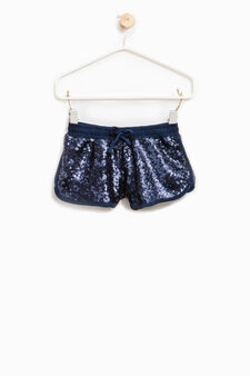 Shorts with sequins and drawstring, Blue, hi-res