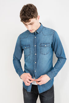 Casual denim shirt with pockets, Blue, hi-res
