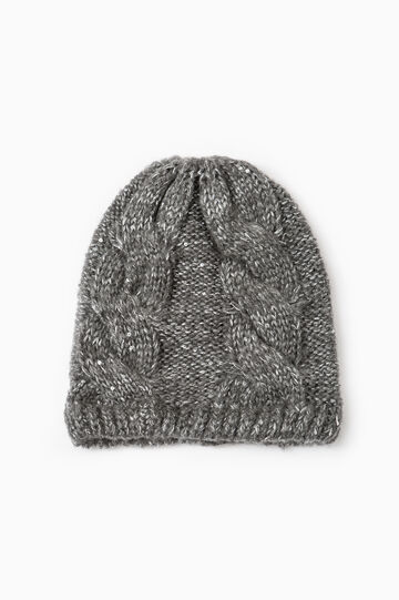 Cable knit beanie cap, Grey Marl, hi-res