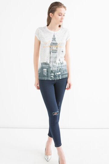 Printed cotton blend T-shirt, Milky White, hi-res