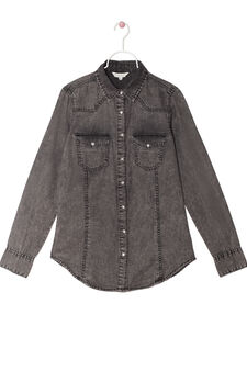 Denim shirt with faded effect, Light Grey, hi-res