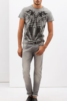 T-shirt in 100% cotton with print., Light Grey, hi-res