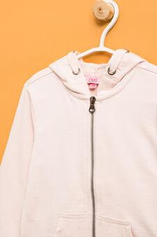 Solid colour 100% cotton sweatshirt, Pink, hi-res