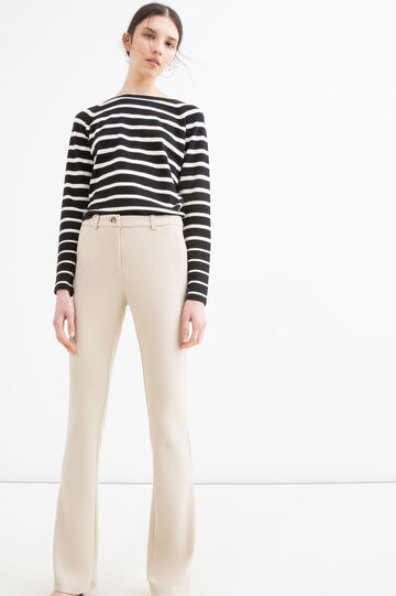 Stretch jersey trousers, Sand, hi-res
