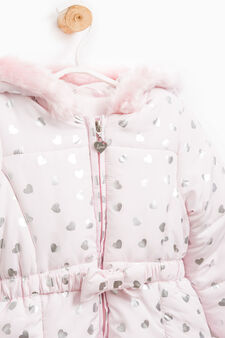 Down jacket with heart print, Pink, hi-res