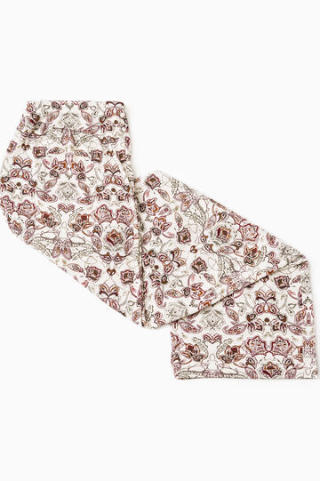 Floral viscose pyjama trousers, White, hi-res