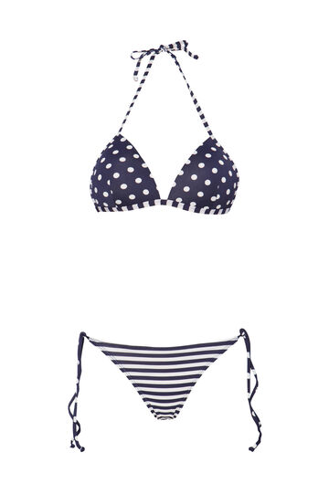 Stretch bikini with pattern, Navy Blue, hi-res